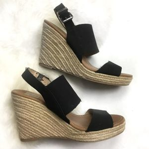 Dolce Vita Black Wedge Espadrille Sandals